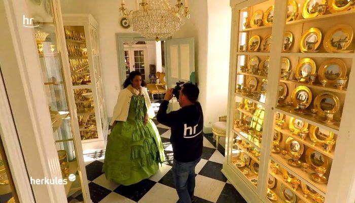 HR-Kamerateam im Schloss Fasanerie